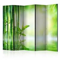 Vouwscherm - Groen bamboe 225x172cm , gemonteerd geleverd, dubbelzijdig geprint (kamerscherm)