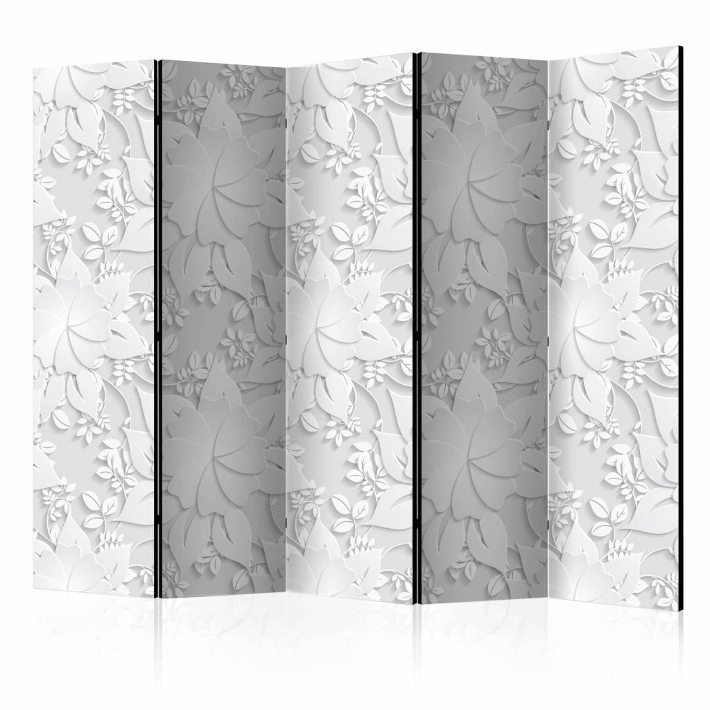 Vouwscherm - Bloemen in het wit 225x172cm