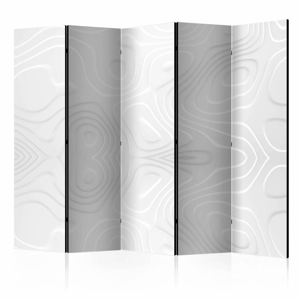 Vouwscherm - Witte golven 225x172cm , gemonteerd geleverd, dubbelzijdig geprint (kamerscherm)