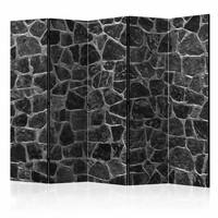 Vouwscherm - Zwarte stenen 225x172cm , gemonteerd geleverd, dubbelzijdig geprint (kamerscherm)