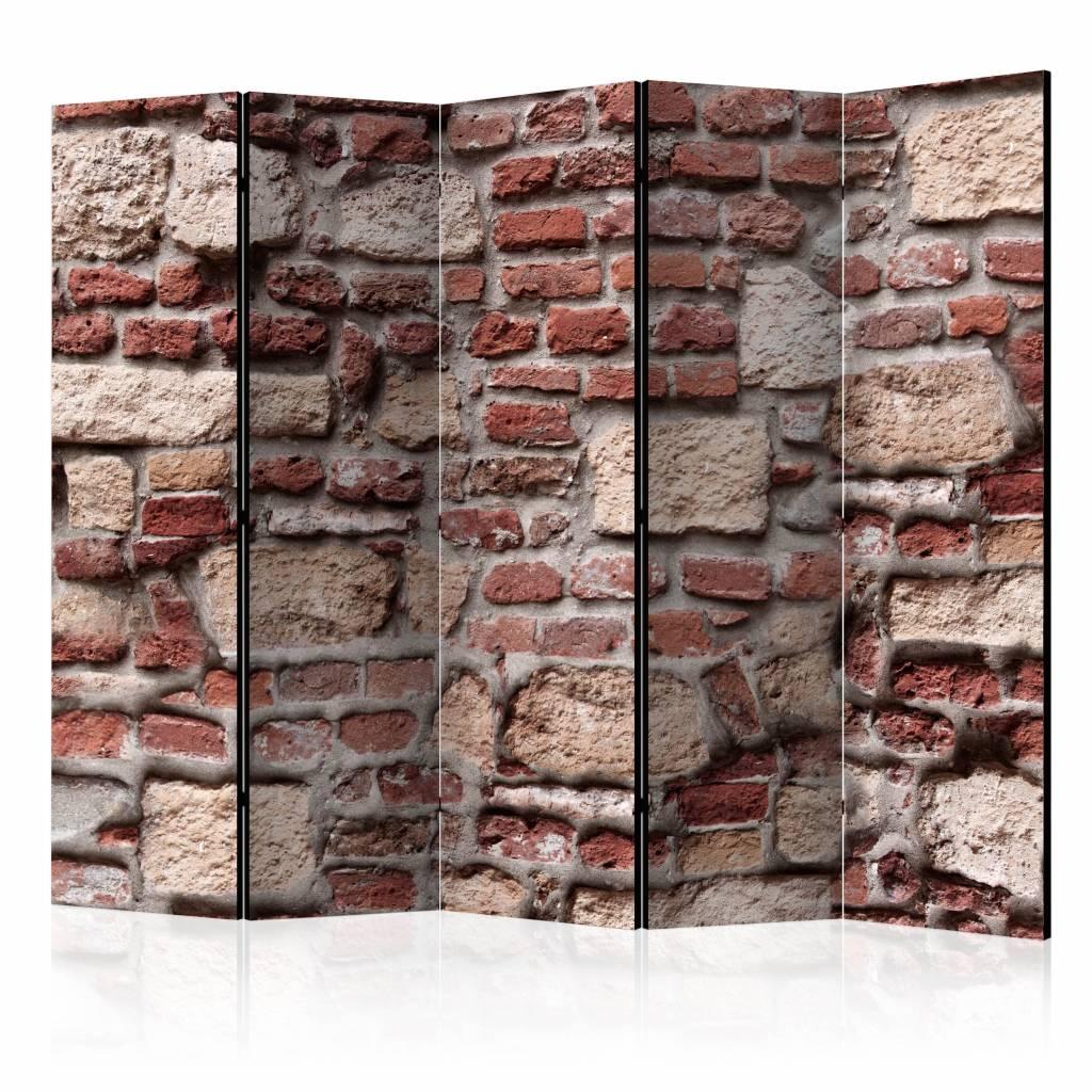 Vouwscherm - Vintage muur 225x172cm