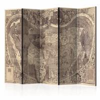 Vouwscherm - Wereldkaart ( Amerigo Vespucci ! ) 225x172cm