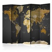 Vouwscherm - Wereldkaart 225x172cm , gemonteerd geleverd (kamerscherm)