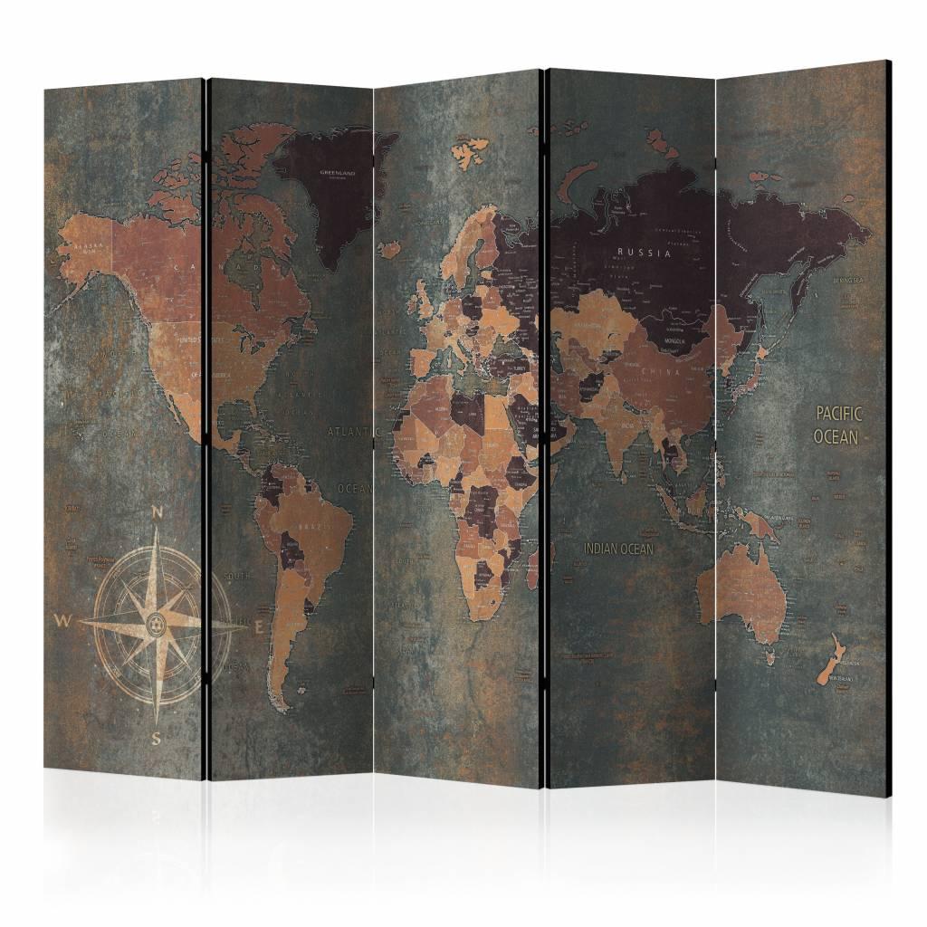 Vouwscherm - Map in browns and greys, Wereldkaart 225x172cm