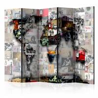 Vouwscherm - World map – Banksy 225x172cm