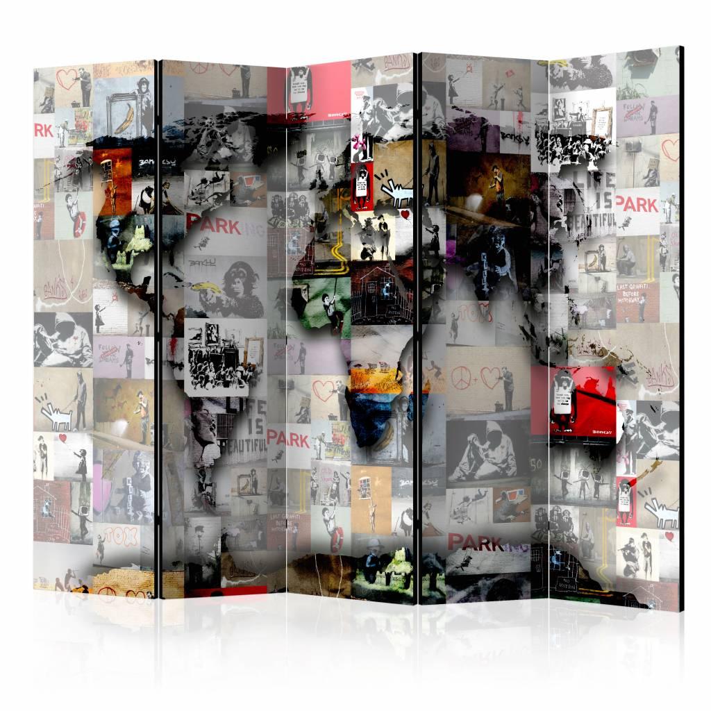 Vouwscherm - Wereldkaart - Banksy 225x172cm , gemonteerd geleverd, dubbelzijdig geprint (kamerscherm