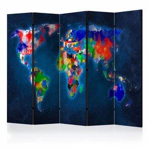 Vouwscherm - Kleurrijke Wereldkaart 225x172cm