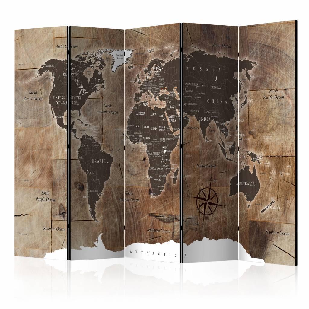 Vouwscherm - Wereldkaart 225x172cm , gemonteerd geleverd, dubbelzijdig geprint(kamerscherm)
