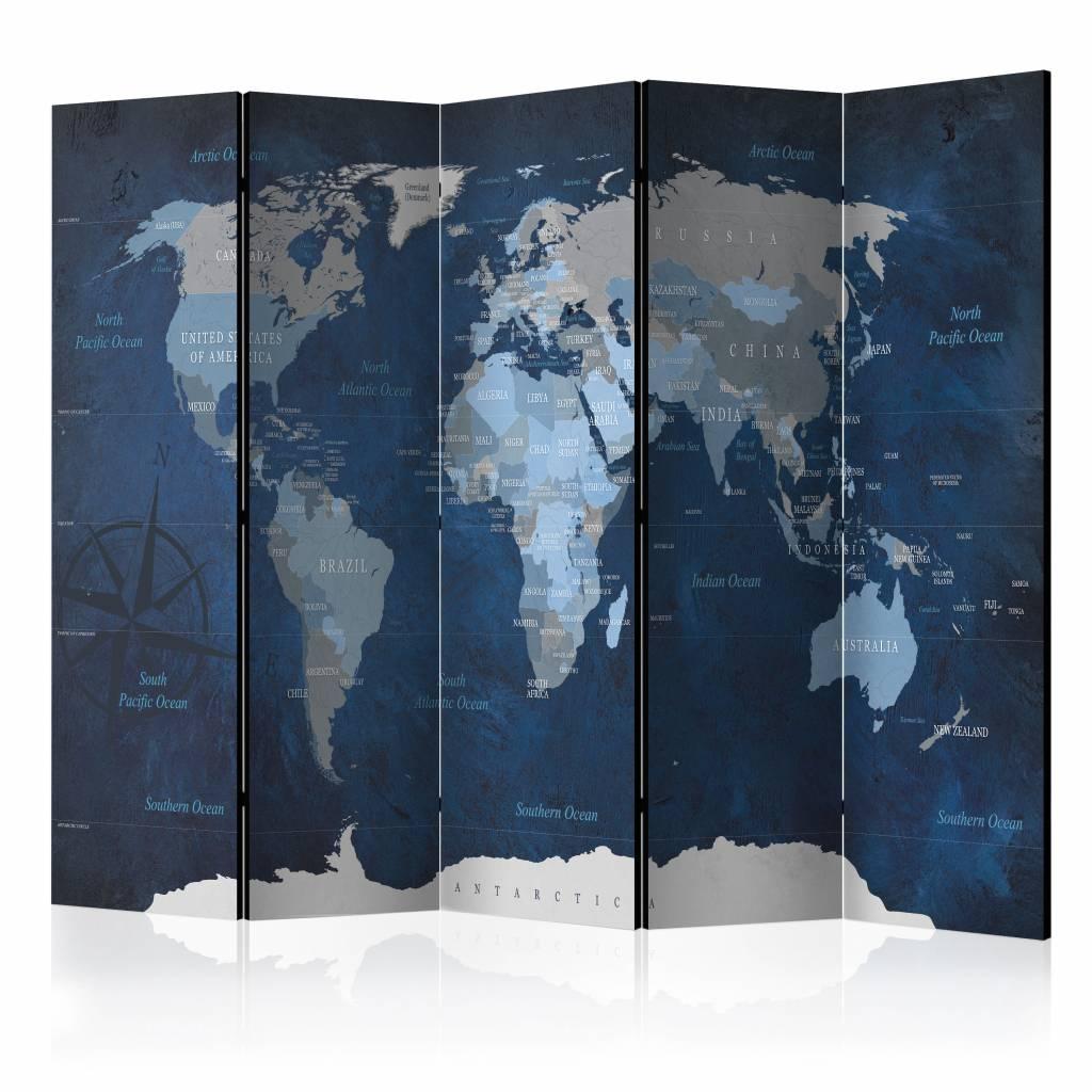 Vouwscherm - Dark Blue World, Wereldkaart 225x172cm