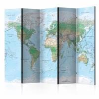 Vouwscherm - Wereldkaart in lichte kleuren ,  225x172cm , gemonteerd geleverd, dubbelzijdig geprint (kamerscherm)