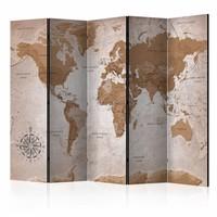 Vouwscherm - Oriental Travels, Wereldkaart 225x172cm