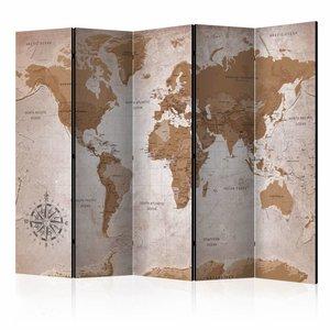 Vouwscherm - Orientale reizen , Wereldkaart , 225x172cm  , gemonteerd geleverd, dubbelzijdig geprint (kamerscherm)
