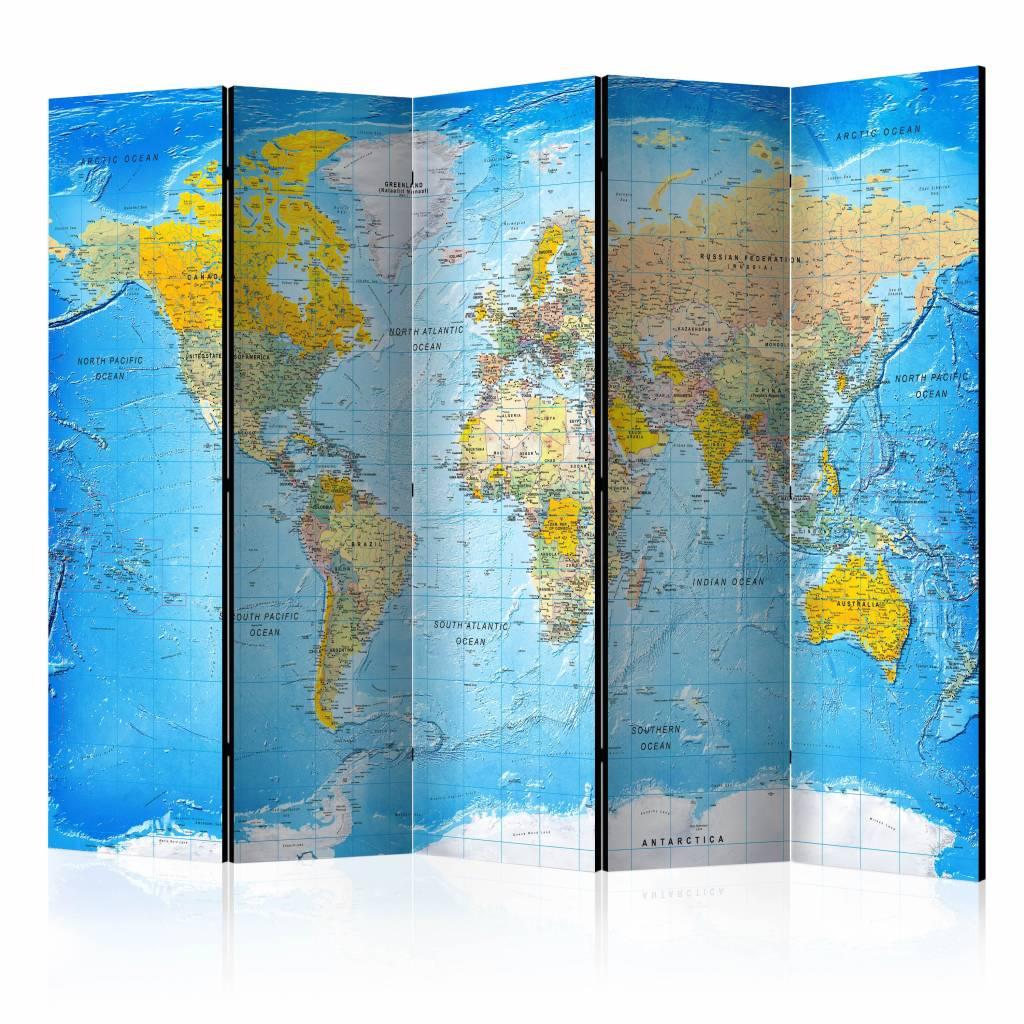 Vouwscherm - Wereldkaart 225x172cm , gemonteerd geleverd, dubbelzijdig geprint (kamerscherm)
