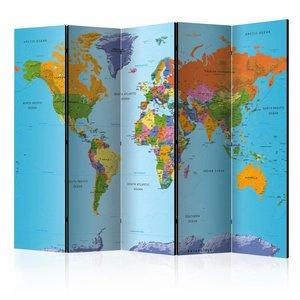 Vouwscherm - Gedetailleerde wereldkaart 225x172cm  , gemonteerd geleverd, dubbelzijdig geprint (kamerscherm)
