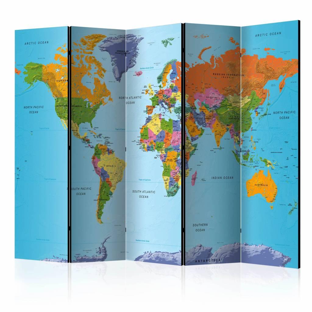 Vouwscherm - Gedetailleerde wereldkaart 225x172cm