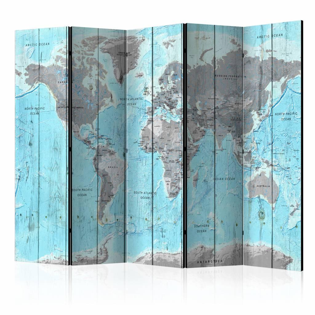 Vouwscherm - Wooden Travels, Wereldkaart 225x172cm