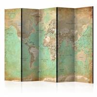 Vouwscherm - Turquoise Wereldkaart  225x172cm  , gemonteerd geleverd, dubbelzijdig geprint (kamerscherm)