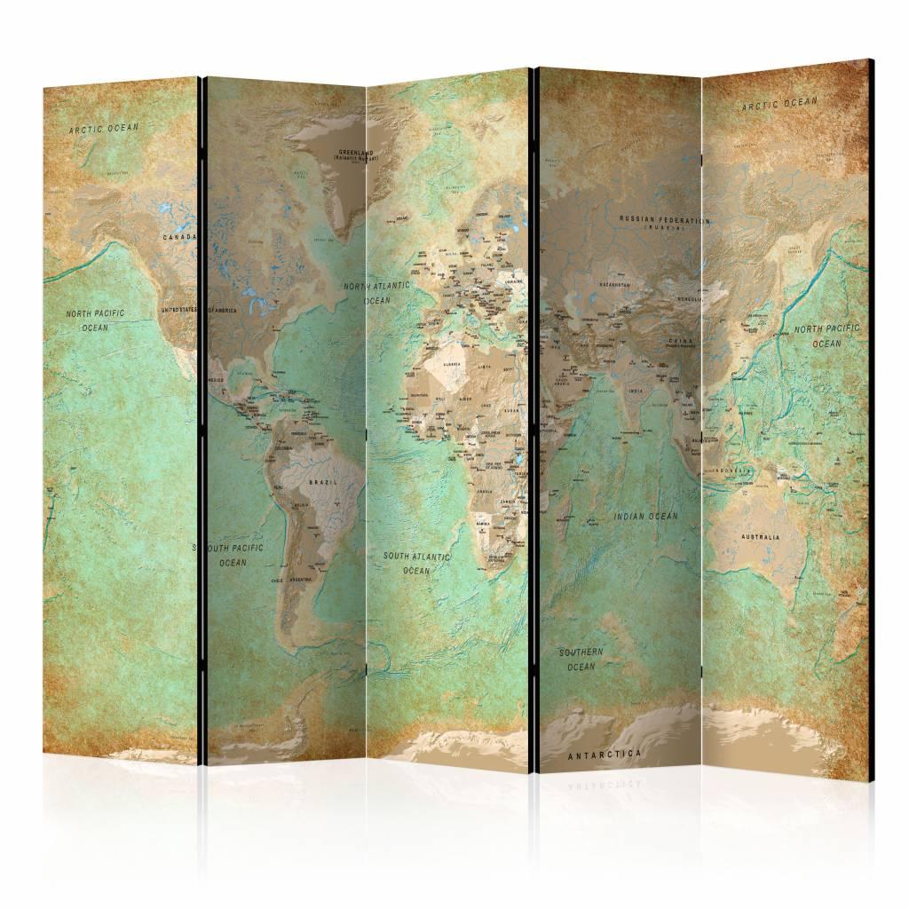Vouwscherm - Turquoise World Map, Wereldkaart 225x172cm