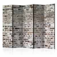 Vouwscherm - Oude muur 225x172cm  , gemonteerd geleverd, dubbelzijdig geprint (kamerscherm)