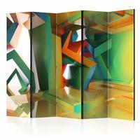 Vouwscherm - Kleurrijke ruimte 225x172cm  , gemonteerd geleverd, dubbelzijdig geprint (kamerscherm)