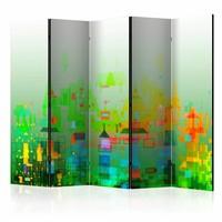 Vouwscherm - Abstracte stad 225x172cm  , gemonteerd geleverd, dubbelzijdig geprint (kamerscherm)