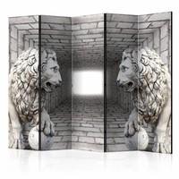 Vouwscherm - Stenen leeuwen 225x172cm  , gemonteerd geleverd, dubbelzijdig geprint (kamerscherm)