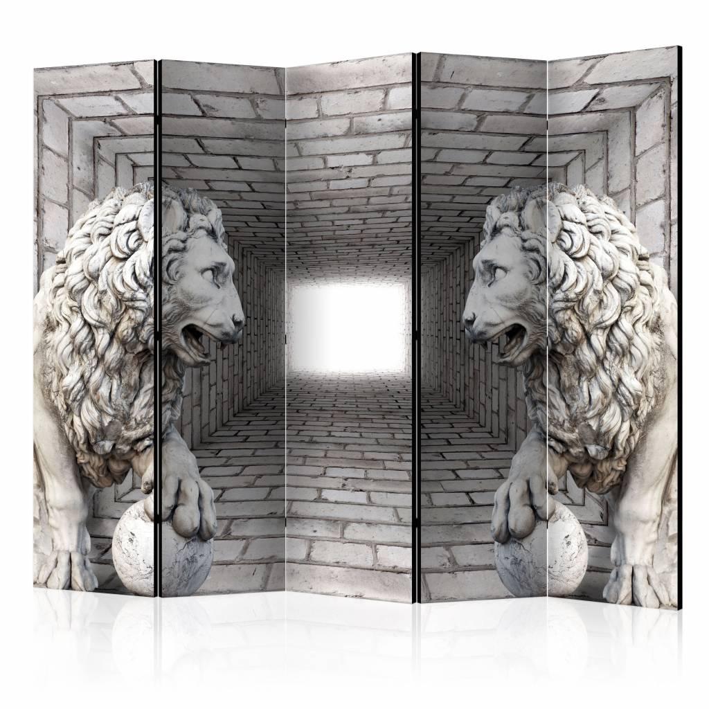 Vouwscherm - Stenen leeuwen 225x172cm