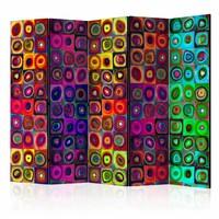 Vouwscherm - Kleurrijk abstract 225x172cm  , gemonteerd geleverd, dubbelzijdig geprint (kamerscherm)