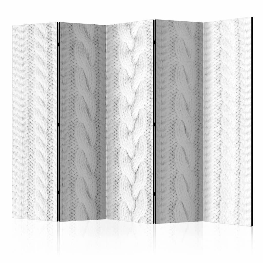 Vouwscherm - Wit gebreid 225x172cm