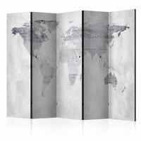 Vouwscherm - Wereld op beton  225x172cm