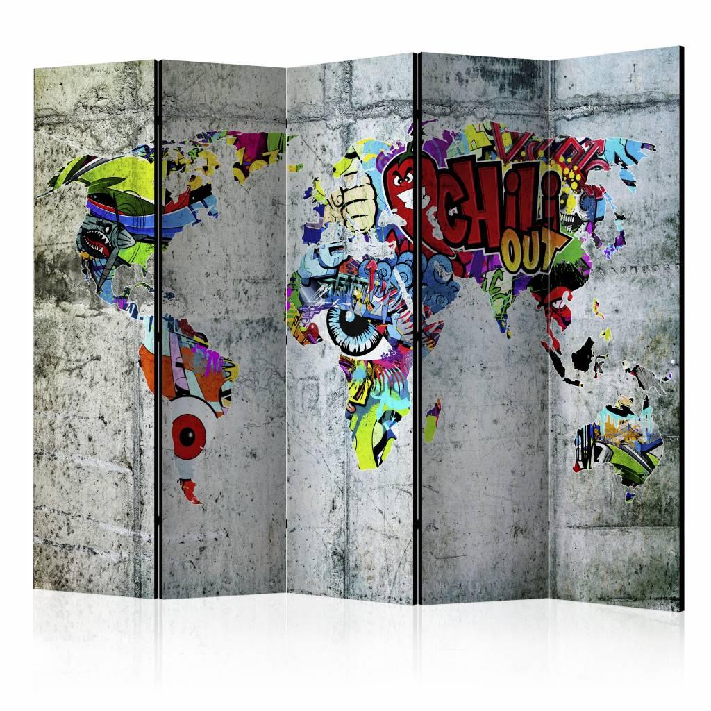 Vouwscherm - Graffiti Wereld 225x172cm