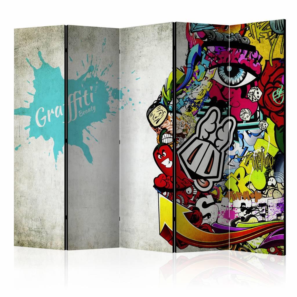 Vouwscherm - Graffiti Beauty 225x172cm , gemonteerd geleverd, dubbelzijdig geprint (kamerscherm)
