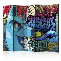 Vouwscherm - Blauwe Graffiti  225x172cm  , gemonteerd geleverd (kamerscherm)