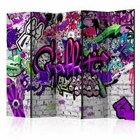 Vouwscherm - Paarse Graffiti 225x172cm  , gemonteerd geleverd (kamerscherm)