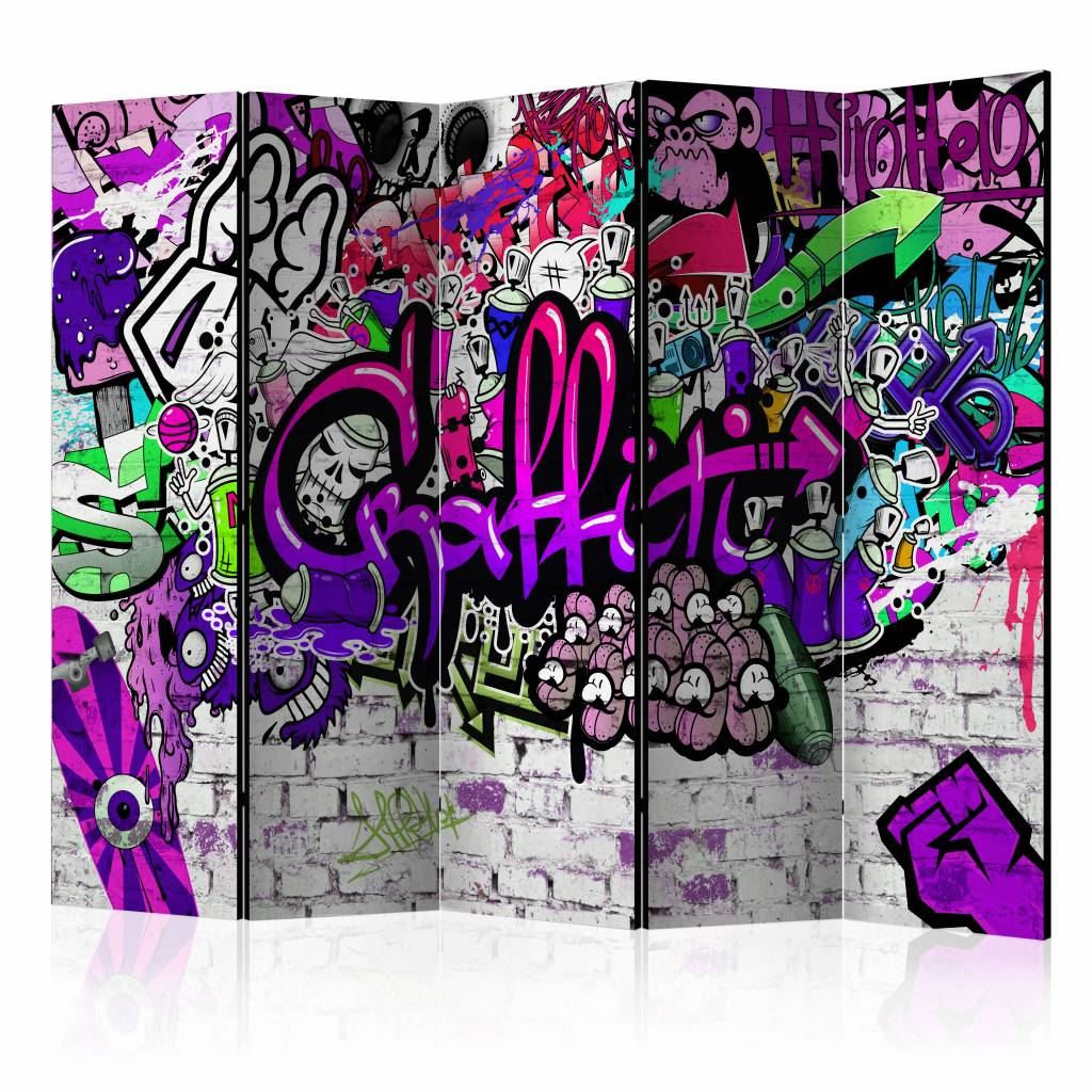Vouwscherm - Paarse Graffiti 225x172cm