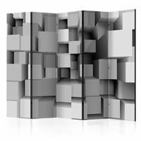 Vouwscherm - Geometrische puzzel 225x172cm  , gemonteerd geleverd, dubbelzijdig geprint (kamerscherm)