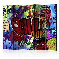 Vouwscherm - Chill out, Graffiti  225x172cm  , gemonteerd geleverd, dubbelzijdig geprint (kamerscherm)