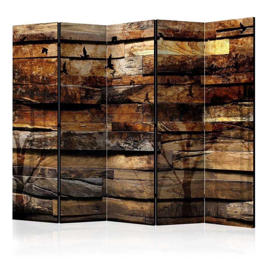 Vouwscherm - Reflectie van de natuur 225x172cm , gemonteerd geleverd, dubbelzijdig geprint (kamersch
