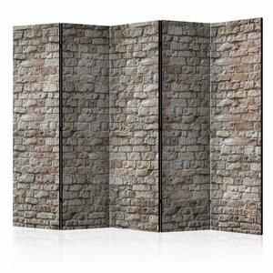 Vouwscherm - Reality, stenen muur 225x172cm  , gemonteerd geleverd, dubbelzijdig geprint (kamerscherm)