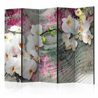 Vouwscherm - Klanken van een orchidee  225x172cm  , gemonteerd geleverd, dubbelzijdig geprint (kamerscherm)