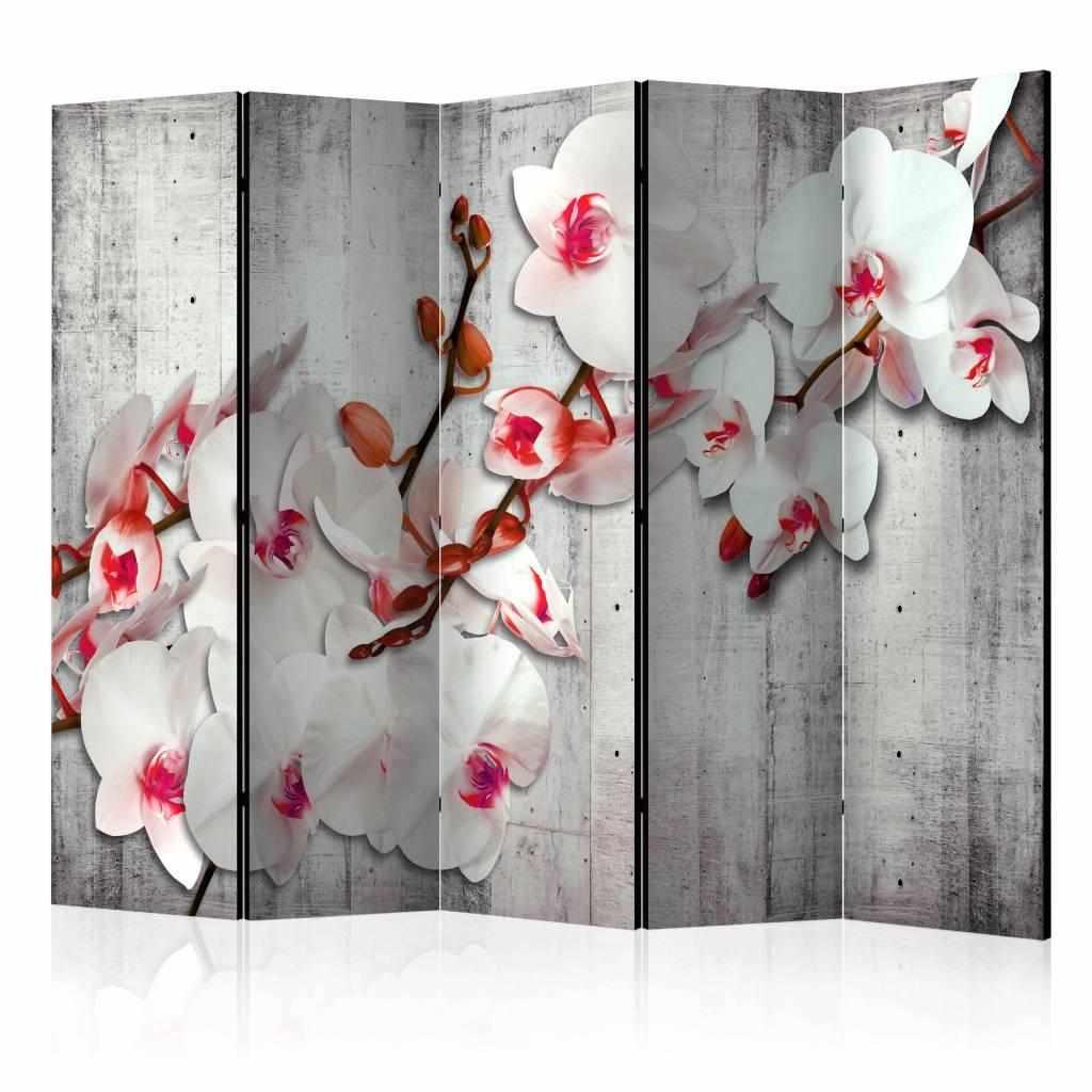 Vouwscherm - Orchidee op beton 225x172cm
