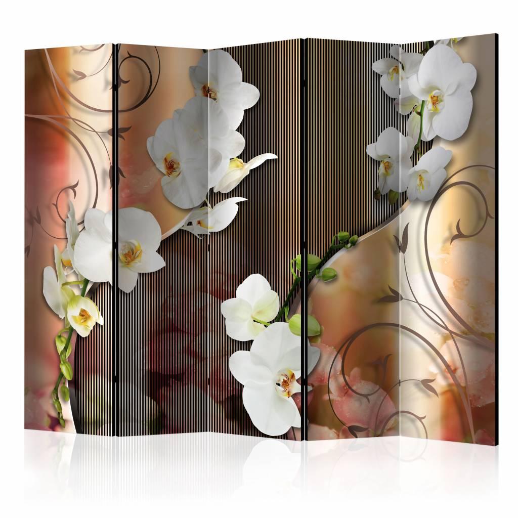 Vouwscherm - Orchidee 225x172cm , gemonteerd geleverd, dubbelzijdig geprint (kamerscherm)