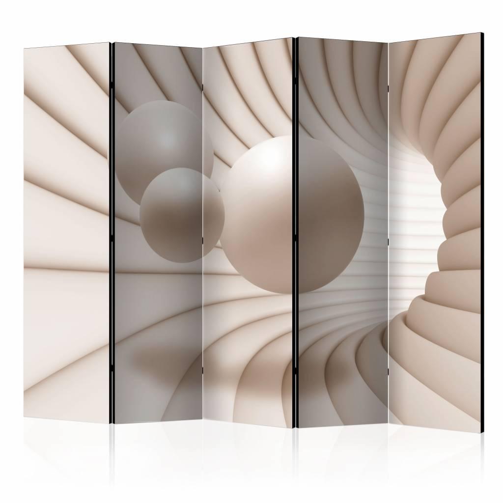 Vouwscherm - Ballen in een tunnel225x172cm , gemonteerd geleverd, dubbelzijdig geprint (kamerscherm)