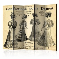 Vouwscherm - Confections pour Dames, mode  225x172cm  , gemonteerd geleverd (kamerscherm)