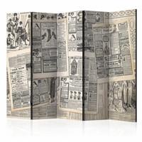 Vouwscherm - Vintage Krant225x172cm  , gemonteerd geleverd (kamerscherm)