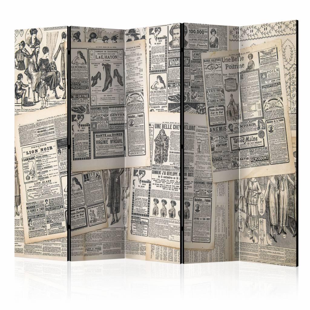 Vouwscherm - Vintage Krant225x172cm