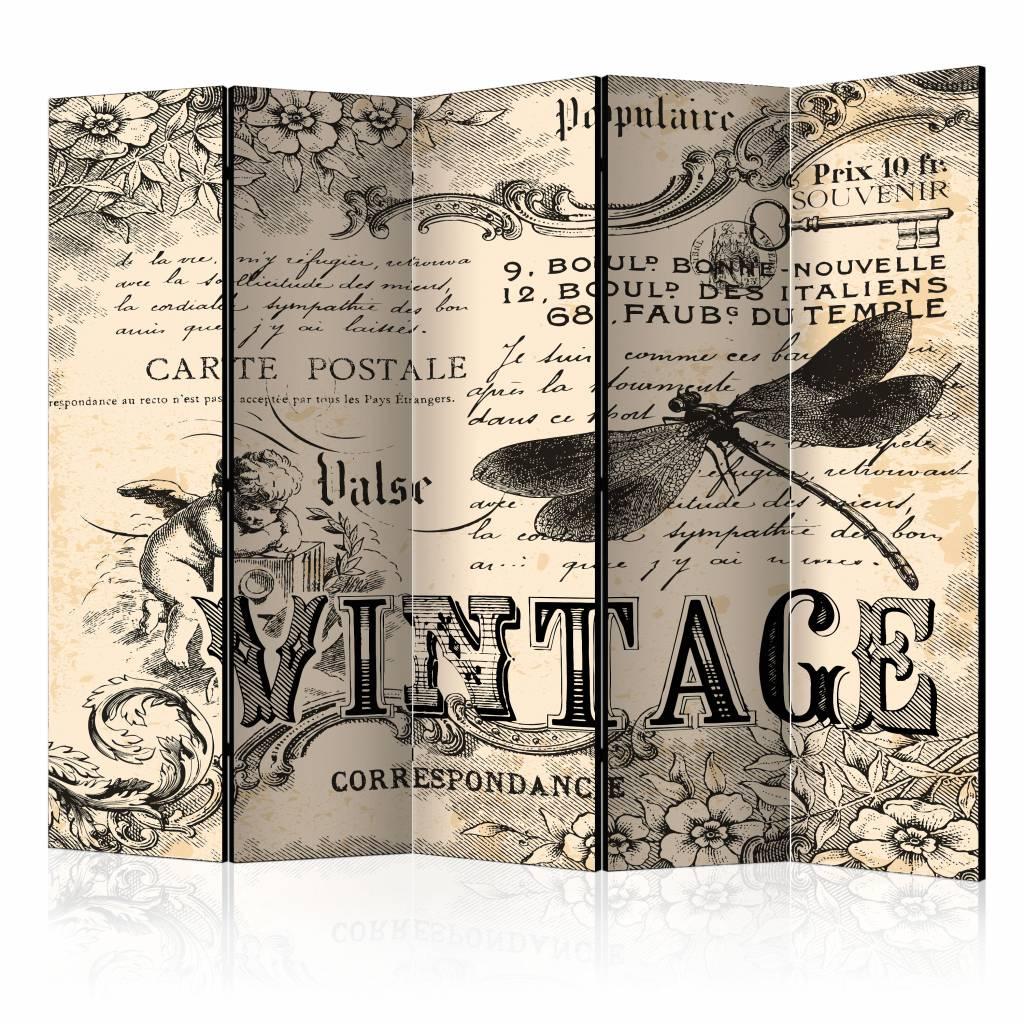 Vouwscherm - Vintage Correspondentie 225x172cm