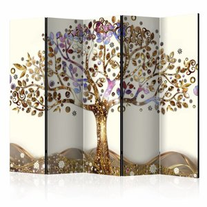 Vouwscherm - Gouden boom  225x172cm  , gemonteerd geleverd, dubbelzijdig geprint (kamerscherm)