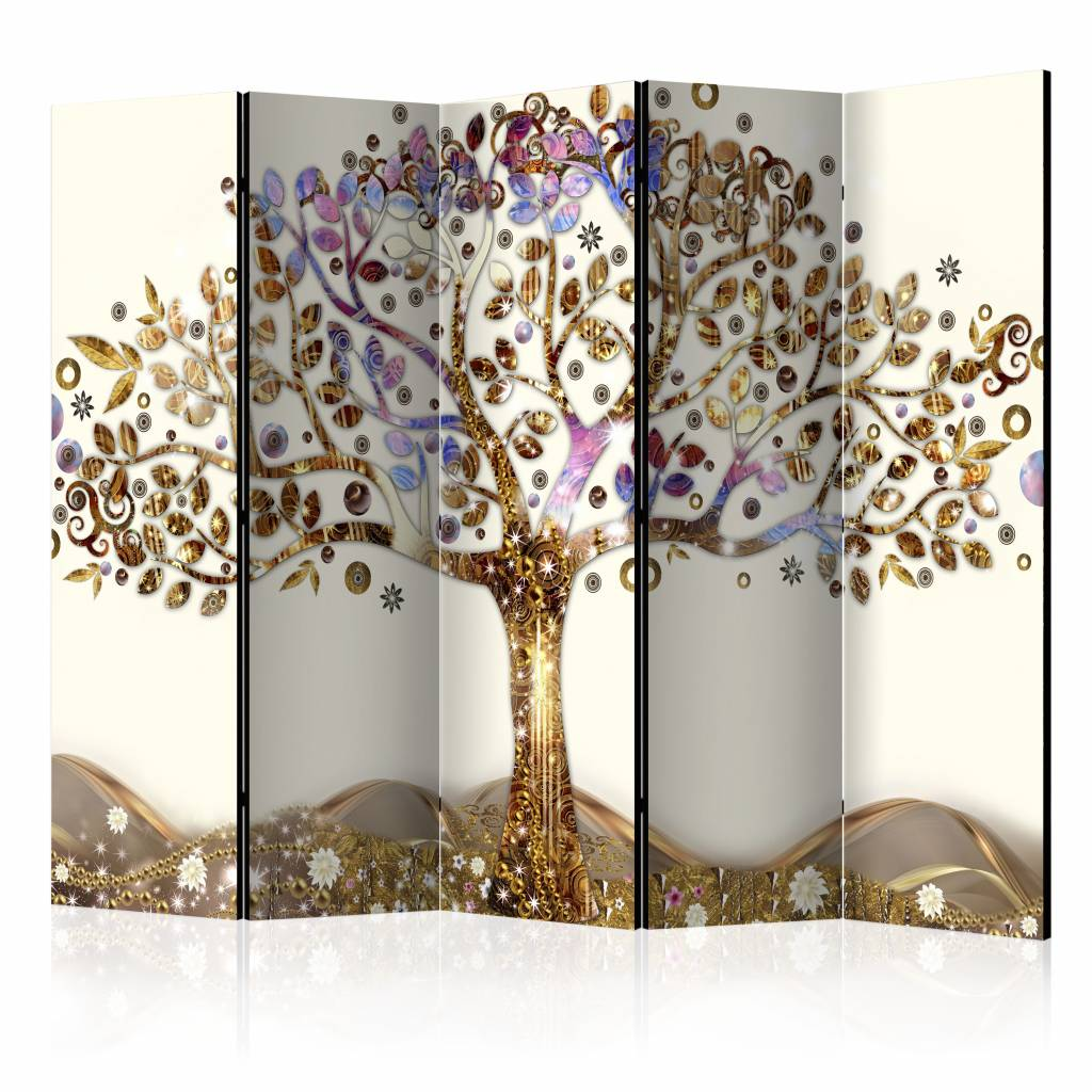 Vouwscherm - Gouden boom 225x172cm