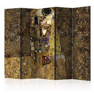 Vouwscherm - Gouden kus 225x172cm  , gemonteerd geleverd, dubbelzijdig geprint (kamerscherm)